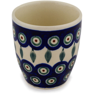 Polish Pottery Tumbler 6 oz Peacock Leaves