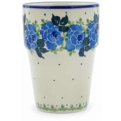 Polish Pottery Tumbler 7 oz Blue Garland