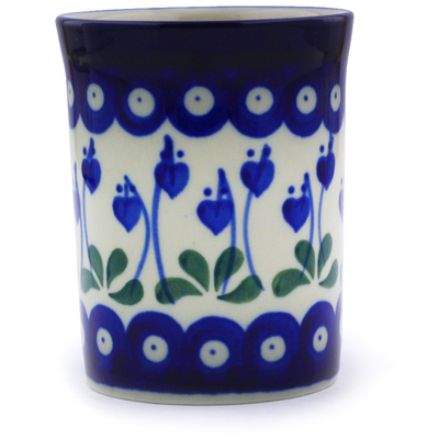 Polish Pottery Tumbler 8 oz Bleeding Heart Peacock