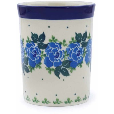 Polish Pottery Tumbler 8 oz Blue Garland
