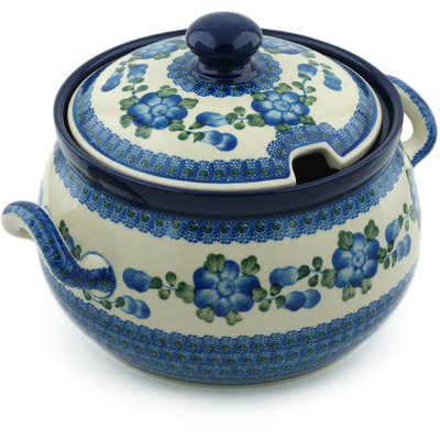 Polish Pottery Tureen 122 oz Blue Poppies