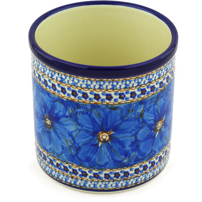 "Polish Pottery Utensil Jar 6"" Blue Poppies UNIKAT"