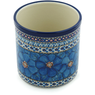 "Polish Pottery Utensil Jar 6"" Cobalt Poppies UNIKAT"