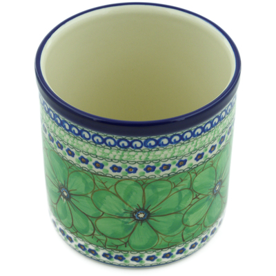"Polish Pottery Utensil Jar 6"" Green Pansies UNIKAT"