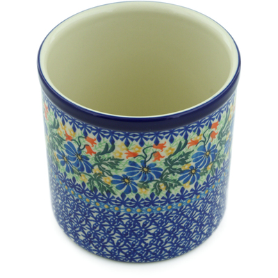 "Polish Pottery Utensil Jar 6"" Happy Daisy UNIKAT"