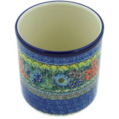 "Polish Pottery Utensil Jar 6"" Splendid Meadow UNIKAT"