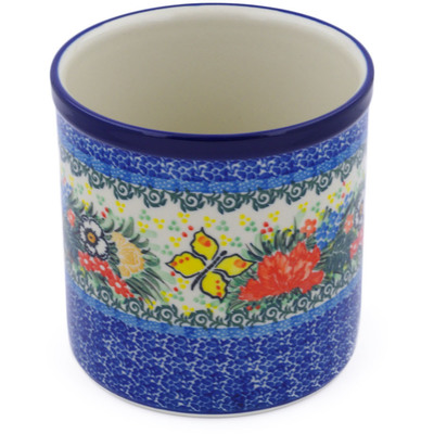 "Polish Pottery Utensil Jar 6"" Spring Butterfly Bouquet UNIKAT"