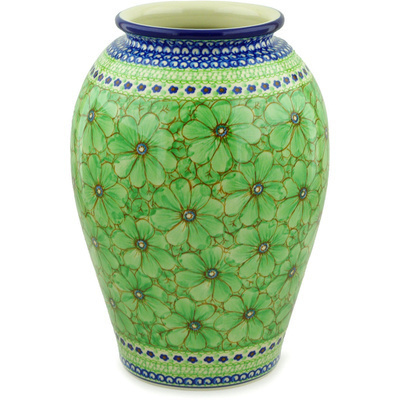 "Polish Pottery Vase 12"" Key Lime Dreams UNIKAT"