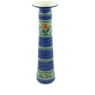 "Polish Pottery Vase 15"" Poppy Parade UNIKAT"