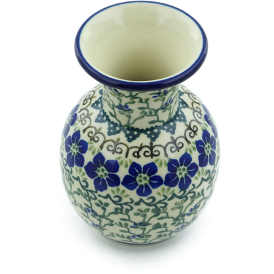 "Polish Pottery Vase 5"" Blue Dogwood"