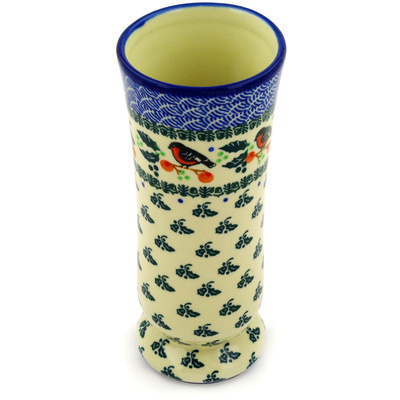 "Polish Pottery Vase 7"" Holly Robin"