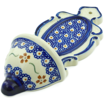 "Polish Pottery Wall Pocket 8"" Sweet Red Flower"