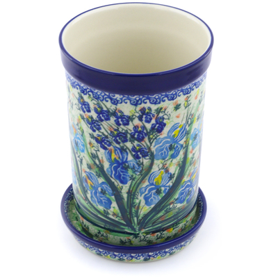 "Polish Pottery Wine Chill with Saucer 8"" Blue Iris Delight UNIKAT"