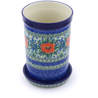 "Polish Pottery Wine Chill with Saucer 8"" Bluebells And Lace UNIKAT"