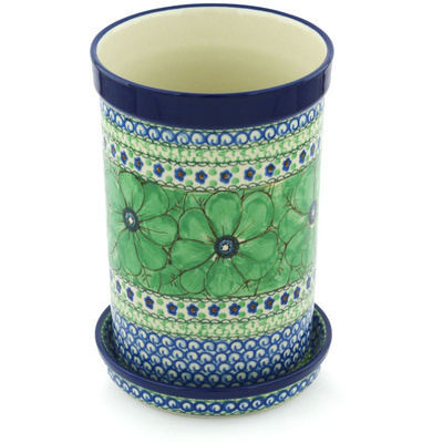 "Polish Pottery Wine Chill with Saucer 8"" Green Pansies UNIKAT"