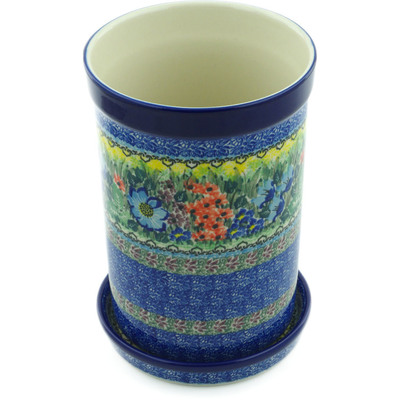 "Polish Pottery Wine Chill with Saucer 8"" Splendid Meadow UNIKAT"
