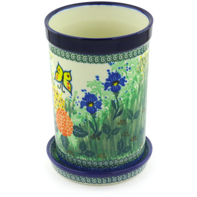 "Polish Pottery Wine Chill with Saucer 8"" Spring Garden UNIKAT"