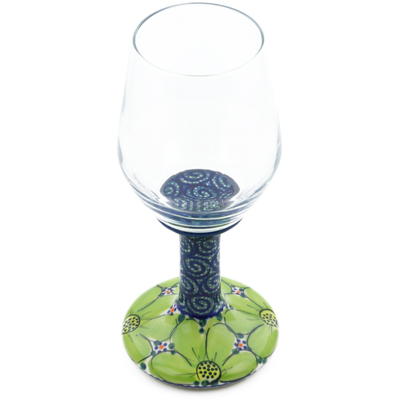 Polish Pottery Wine Glass 10 oz Flower Field UNIKAT