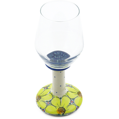 Polish Pottery Wine Glass 10 oz Yellow Violet UNIKAT