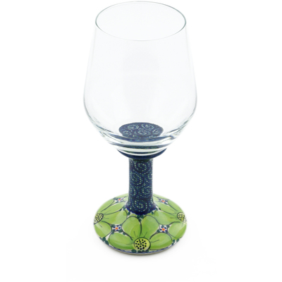 Polish Pottery Wine Glass 15 oz Flower Field UNIKAT