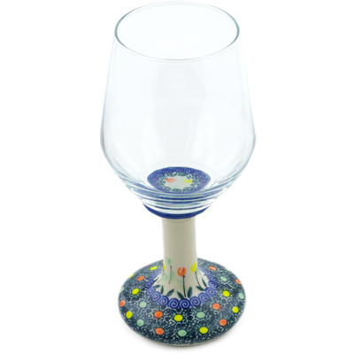 Polish Pottery Wine Glass 15 oz Midnight Tulips UNIKAT