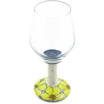 Polish Pottery Wine Glass 15 oz Yellow Violet UNIKAT