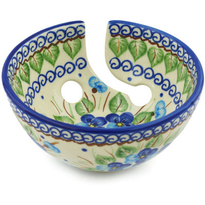 "Polish Pottery Yarn Bowl 6"" Blue Pansy"
