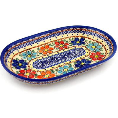 "Polmedia Polish Pottery 13/"" Stoneware Platter H2815I Unikat Boleslawiec Poland"